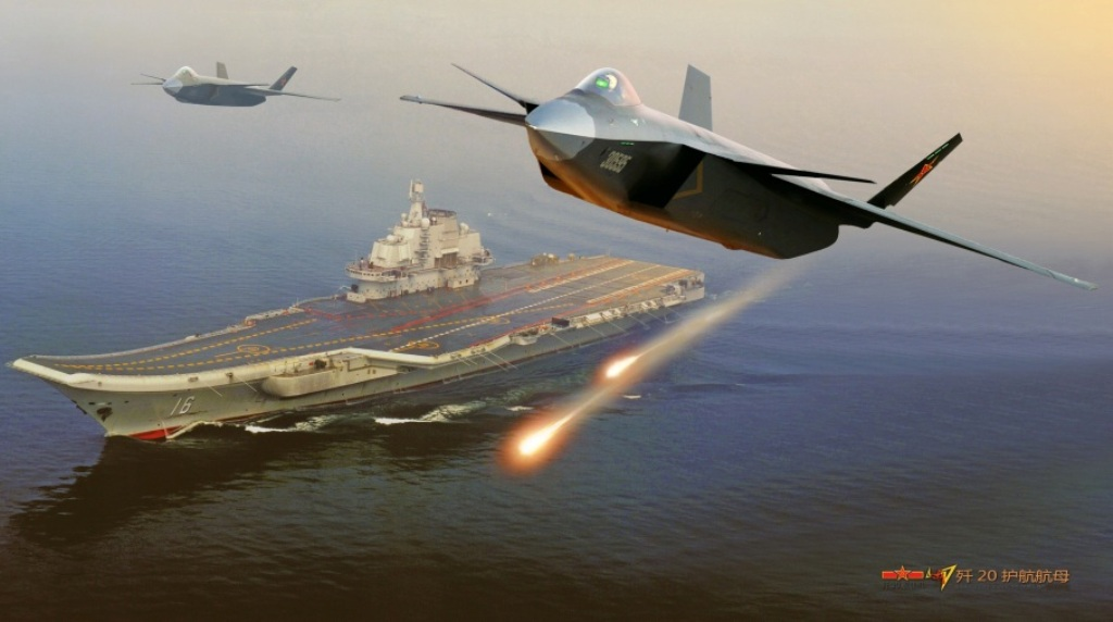 CGI of J-20 Fighter Jets Escorting on CV-16 Liaoning Aircraft Carrier