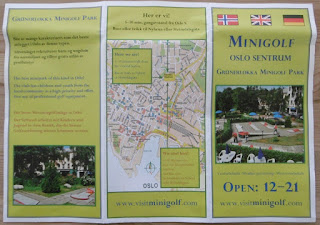 Promotional leaflet from the Grünerløkka Minigolf Park in Oslo, Norway