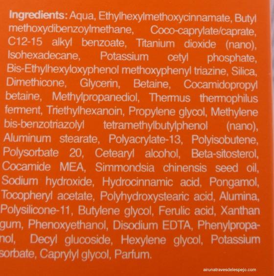 ingredientes protector solar bella aurora
