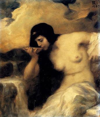 Νύμφη που πίνει, πίνακας του Ferdinand Keller.