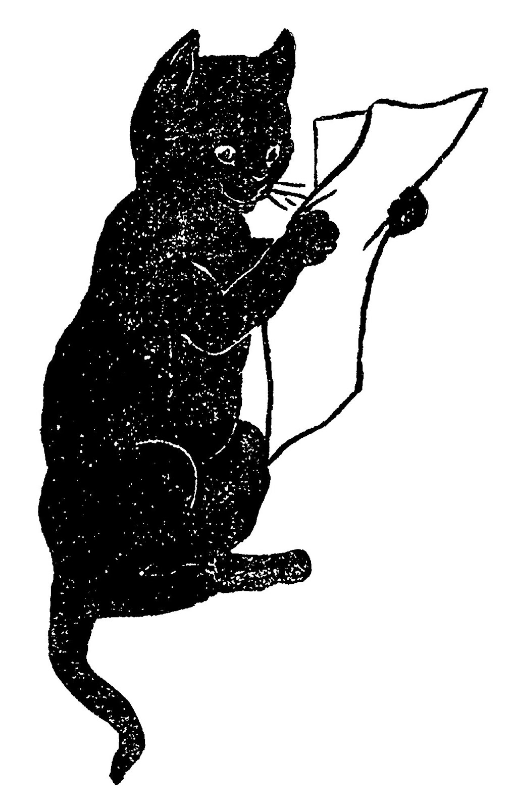 small resolution of black cat funny clipart image reading paper illustration animal antique