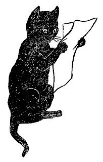 black cat funny clipart image reading paper illustration animal antique