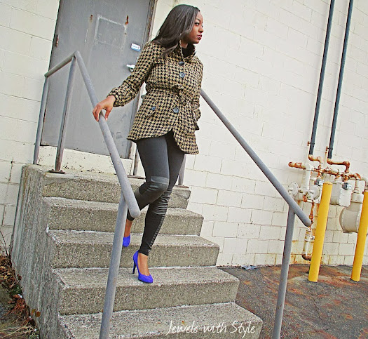 houndstooth coat, M Renee Design, black fashion blogger, style blog, H&M leggings, leather leggings, Jewels with Style, Nine west pumps, purple heels