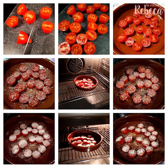 Receta de tomatitos asados con costra crujiente