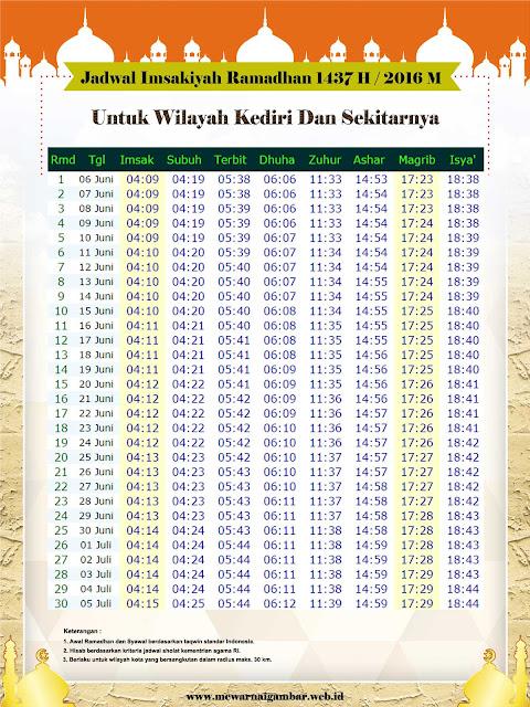 Jadwal Imsakiyah Ramadhan Kediri 1437 H 2016 M