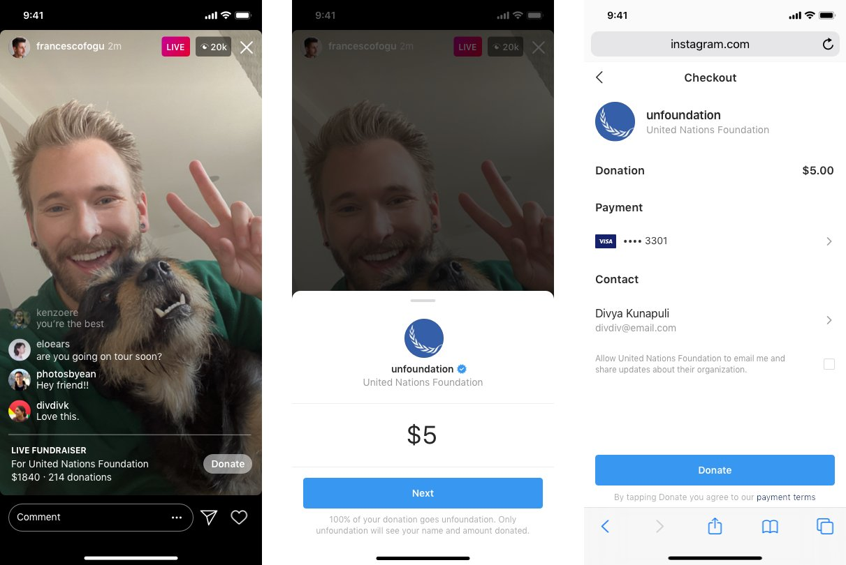 Instagram Live for raising funds amid the coronavirus pandemic
