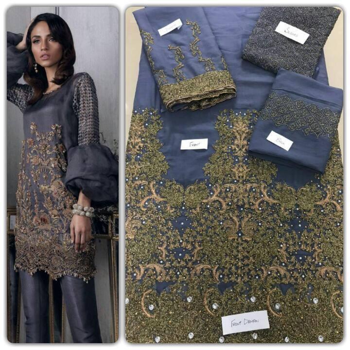 Sana Safinaz Luxury Chiffon With Heavy Dori Work Daman Handwork & Silk Trouser
