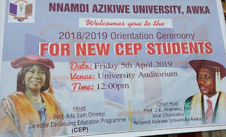 UNIZIK CEP Orientation Ceremony for New Students 2018/2019 Session