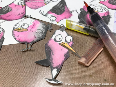 trimming and cutting Galahs made using Tim Holtz Bird Crazy Stamps