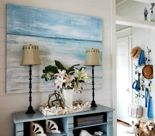 Large Ocean Painting in Entryway