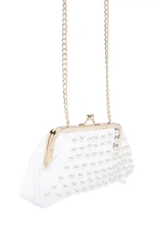 Forever 21 translucent faux pearl framed clutch