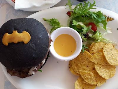 Batman's Dark Knight Burger at Superheroes Cafe at Marina Bay Sands