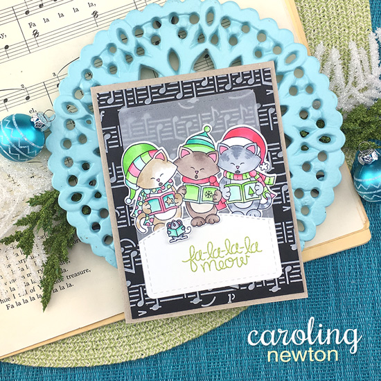 Caroling Cats Christmas card by Jennifer Jacksonl | Caroling Newton Stamp Set and Music Stencil by Newton's Nook Designs #newtonsnook #handmade