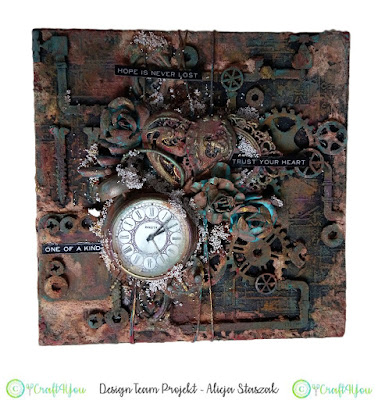 mixed media clock
