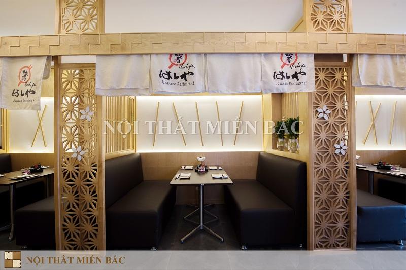 Thiết kế nhà hàng Nhật với vách ngăn họa tiết