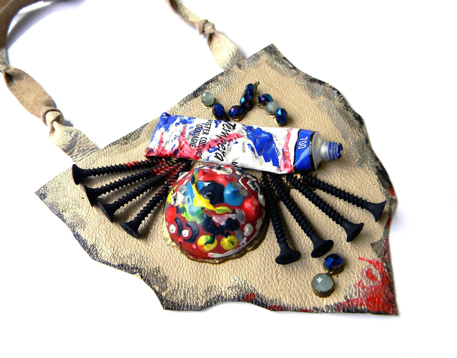 Steampunk Abstract Necklace Bib Colorful Leather Art Jewelry