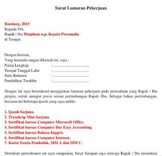 Contoh Surat Lamaran Kerja yang Baik dan Benar - pdf
