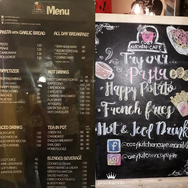 cozy kitchen menu