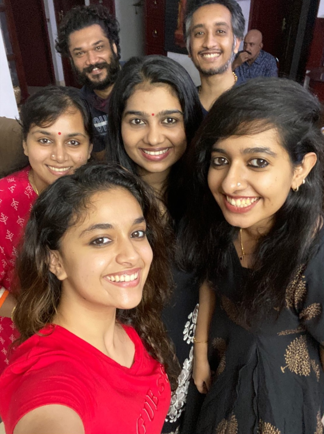 Keerthy Suresh in Red T-Shirt with Cute Smile with her Besties Selfie