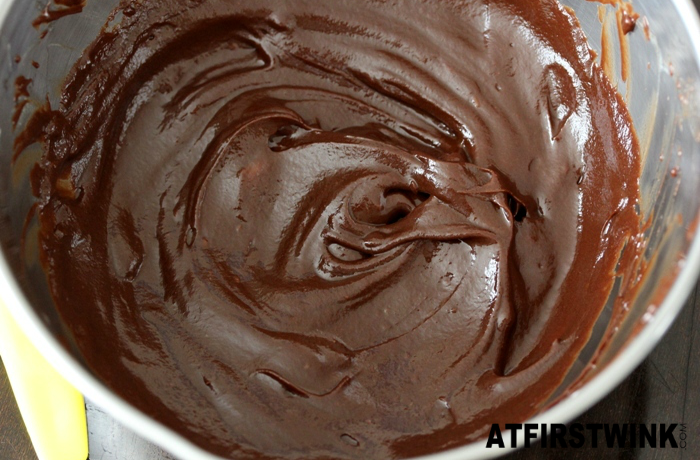 melted milk and dark chocolate mix