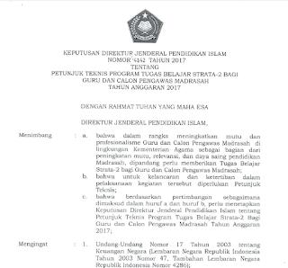Juknis Bantuan Beasiswa S2 Bagi Guru dan Calon Pengawas Madrasah Tahun 2017