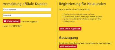 Screenshot: Bestellung als Gast oder mit Kundenkonto