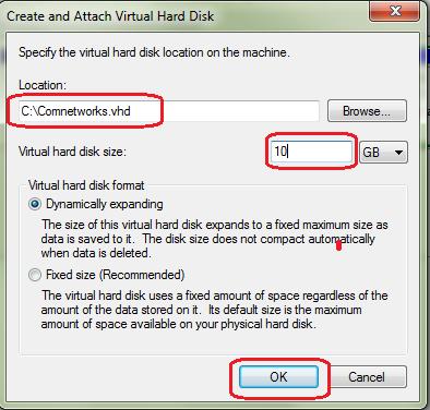Create Virtual Hard Drive ( VHD ) in Windows 7