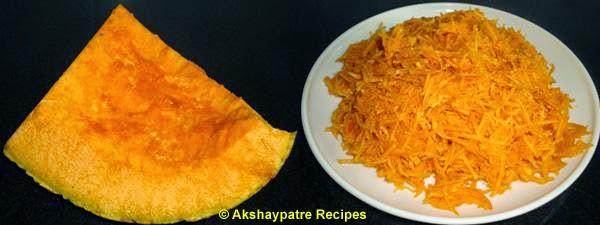 grated pumpkins to make paratha