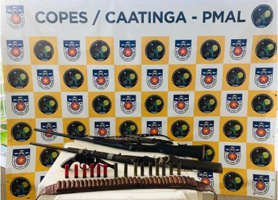 Em Olho D'Água do Casado, polícia apreende  três armas de fogo e munições no Assentamento Chico Mendes