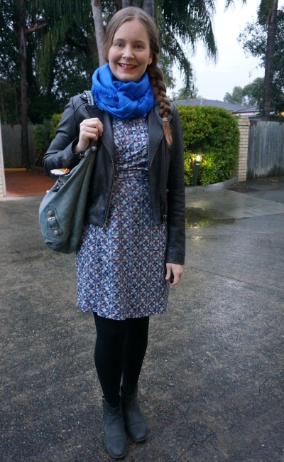 Louis VUitton shawl worn as snood, printed wrap dress, leather jacket for work | away from blue