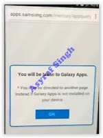 redirect page to Samsung Galaxy Apps