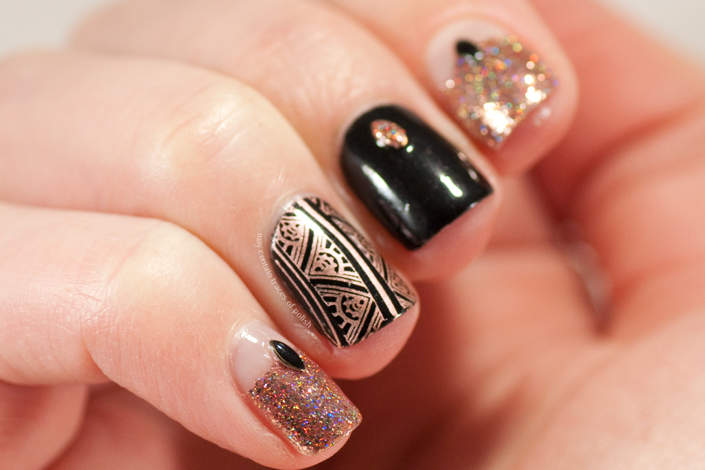Rose Gold and Black Nails - May contain traces of polish
