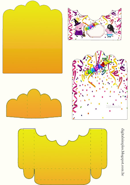 Carnaval con Peppa Pig: Soporte para Golosinas para Imprimir Gratis.