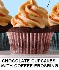 CHOCOLATE CUPCAKES WITH COFFEE FROSTING AND CARAMEL SAUCE