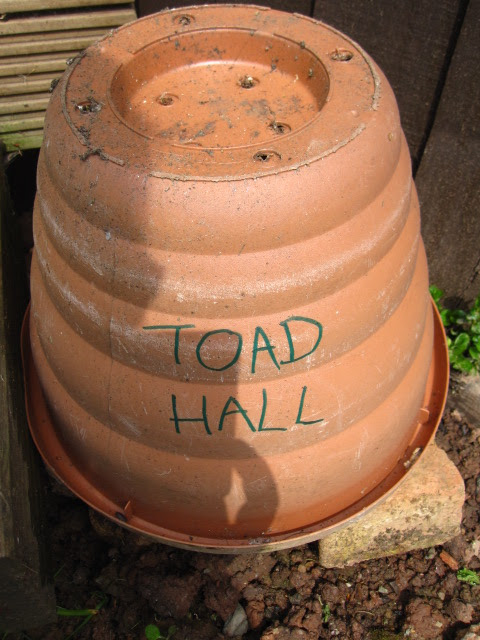 Upside down plant pot on top of the stones with toad hall written on it