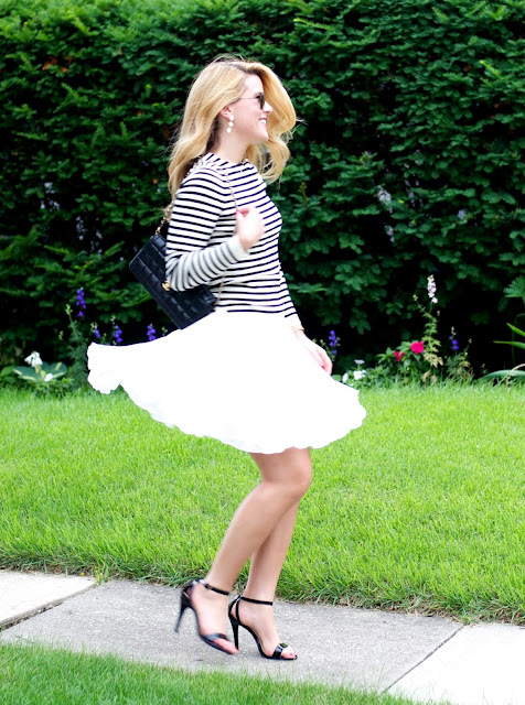 striped shirt and chiffon skirt all under $100