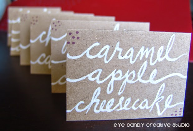 hand lettered dessert table tabletents for birthday party, kraft paper