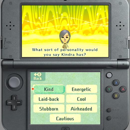 Miitopia Nintendo Treehouse Live Kindra Mii personality energetic