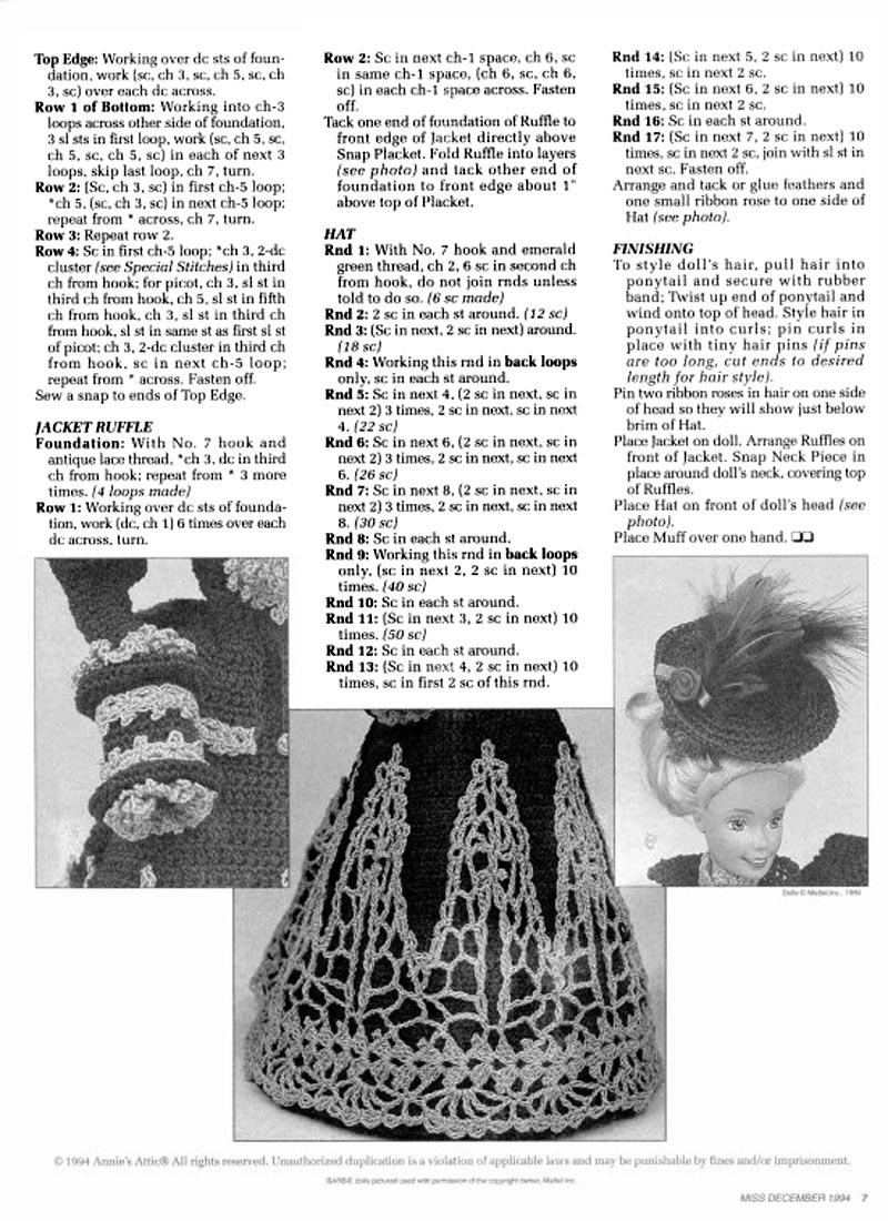 Vestido e acessórios de crochê para Barbie Receita de crochê em Inglês