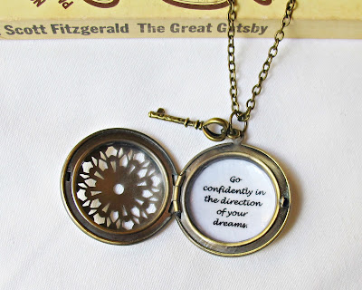 go confidently in the direction of your dreams quote locket necklace two cheeky monkeys thoreau jewellery inspirational
