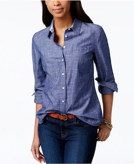 Tommy Hilfiger Roll-Tab-Sleeve Chambray Shirt $30 (reg $50)