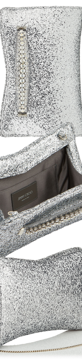 JIMMY CHOO VENUS CLUTCH IN SILVER