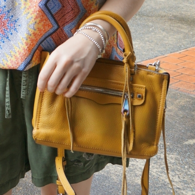Rebecca Minkoff micro Regan satchel in Harvest Gold with olive shorts | awayfromtheblue