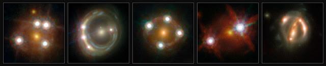 Hình ảnh 5 thấu kính hấp dẫn được tạo từ 5 quasar bị bẻ cong ánh sáng bởi 5 thiên hà. Những quan sát về các thấu kính hấp dẫn cho phép xác định được hằng số Hubble một cách độc lập và xác định rằng vũ trụ đang mở ra với tốc độ nhanh hơn so với kiến thức trước đây. Hình ảnh: ESA/Hubble, NASA, Suyu et al.