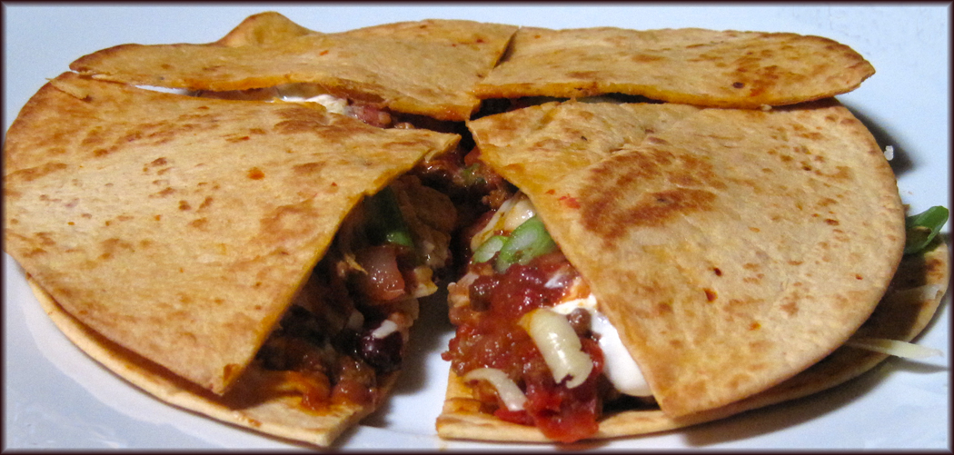 Quesadillas made with leftover Chilli con Carne