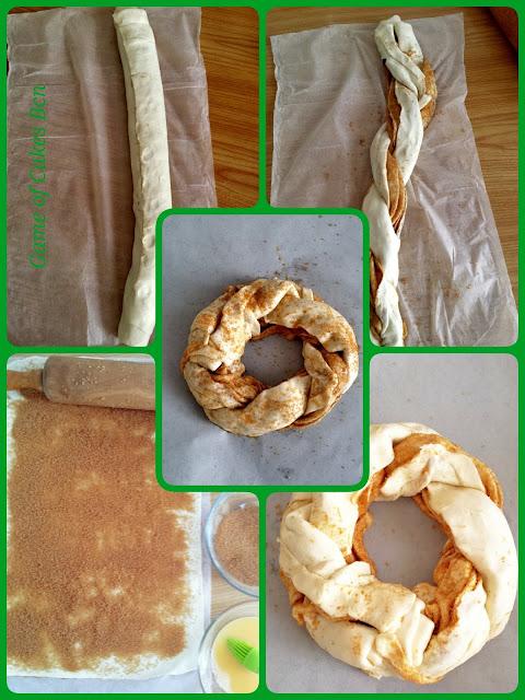 Trenza de hojaldre con canela, elaboración