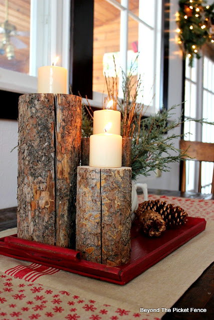 Christmas, candles, pine branches, copper paint, centerpiece, DIY, woodland, logs, pinecones, fusion mineral paint, http://bec4-beyondthepicketfence.blogspot.com/2015/12/12-days-of-christmas-day-8-woodland.html
