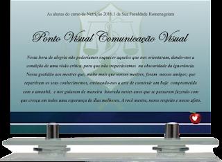 c64fea351fd6c Ponto Visual Catálogo Virtual  Placa de Homenagem Base de vidro
