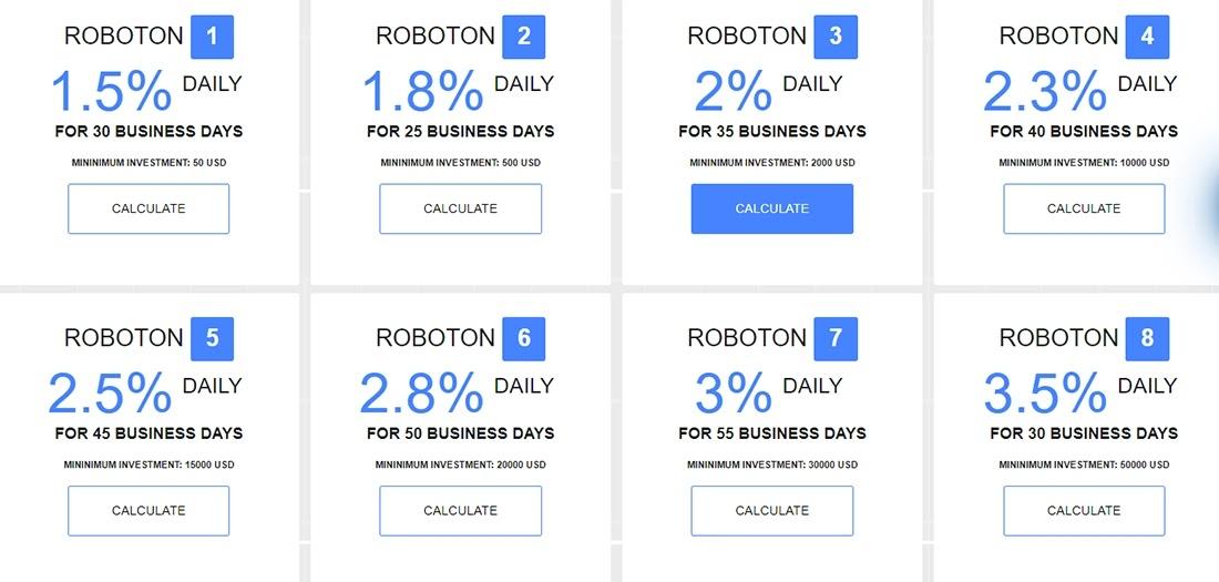 Инвестиционные планы FxRoboton