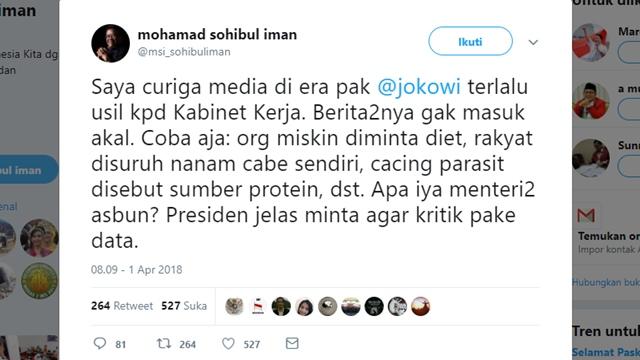Presiden PKS; Menteri Zaman Now Minta Rakyat Diet, Nanem Cabe Sendiri dan Cacing Sumber Protein